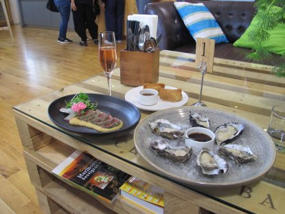 Food from Jack's Raw Bar at Cloudy Bay Winery. You cannot have too many New Zealand oysters. Their cuvee rose is pretty good too.