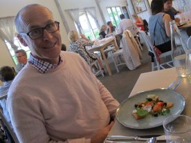 Husband looking pretty happy with his entrée of cured salmon, blueberries, ginger and labne at Arbour.