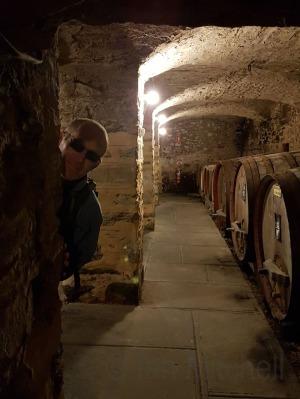 Husband being tricksy at Sevenhill Cellars