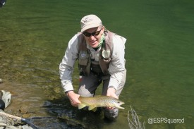 Husband with one of many New Zealand Brown trout.